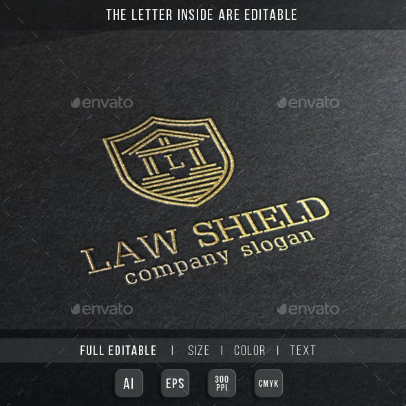 Law Shield - Justice Building Logo Template.