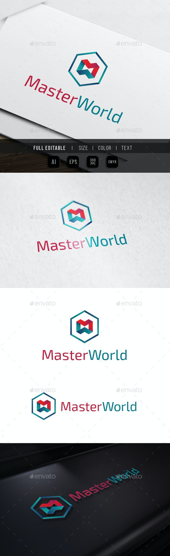 Master World - M W Hexagon - Letters Logo Templates