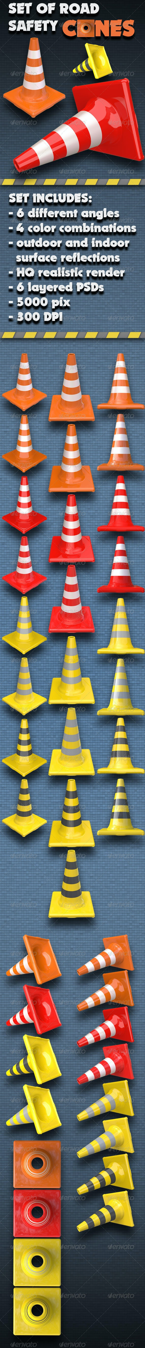 Set of Road Traffic Safety Cones - Objects 3D Renders