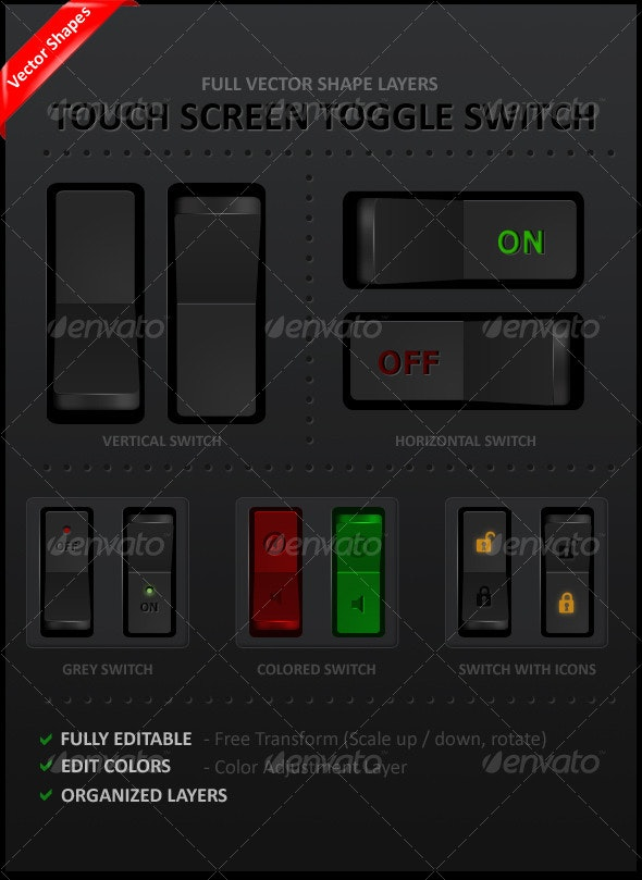 Touch Screen Toggle Switch  - Buttons Web Elements