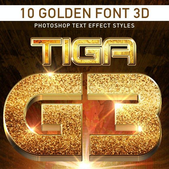 10 Golden Font 3D_3