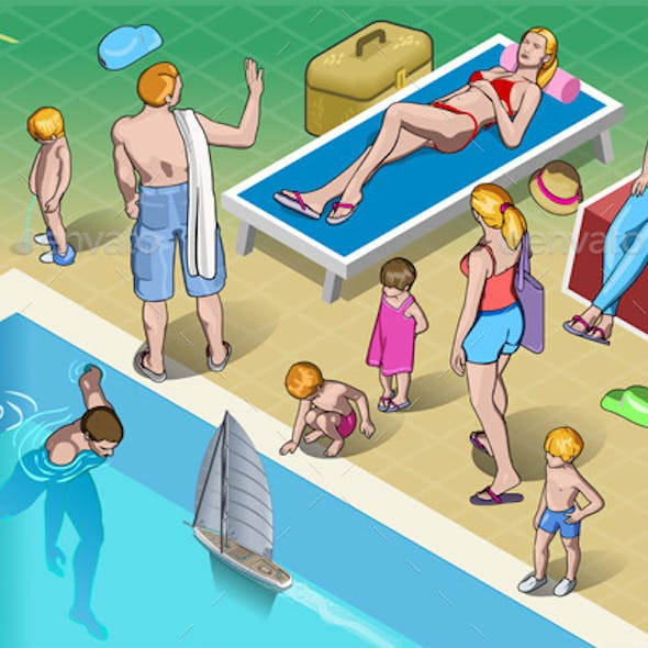 Isometric Tourists Peoples Set in Various Position