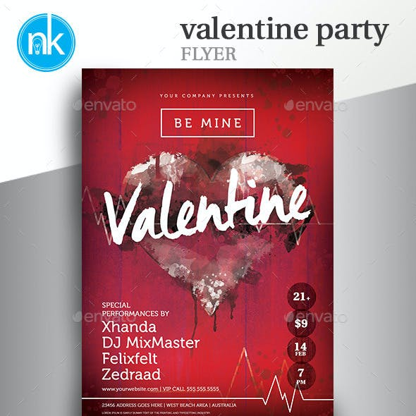 Valentine Party Flyer - Rustic