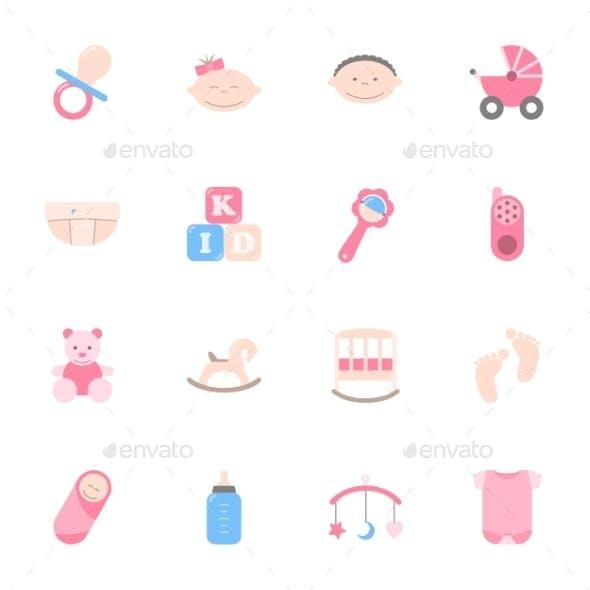 Baby Flat Icons Set