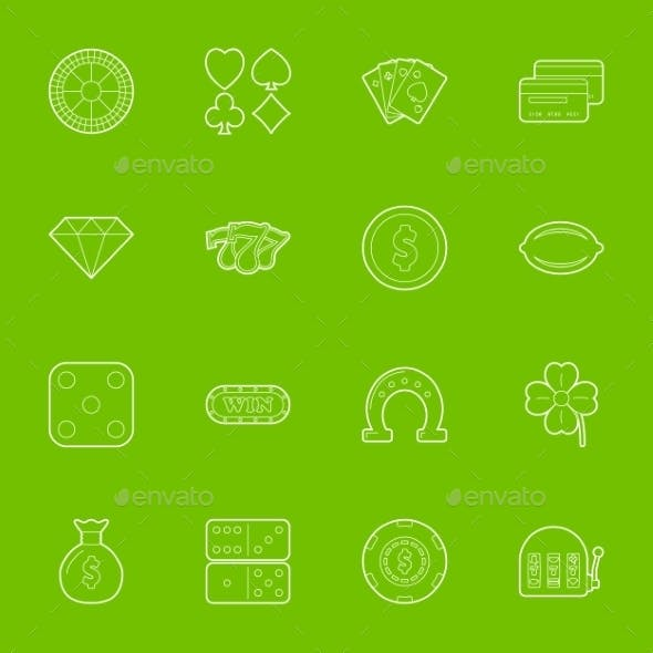Casino Thin Lines Icons Set