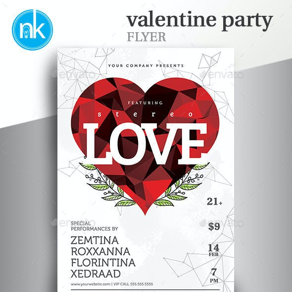 Valentine Party Flyer - Minimal