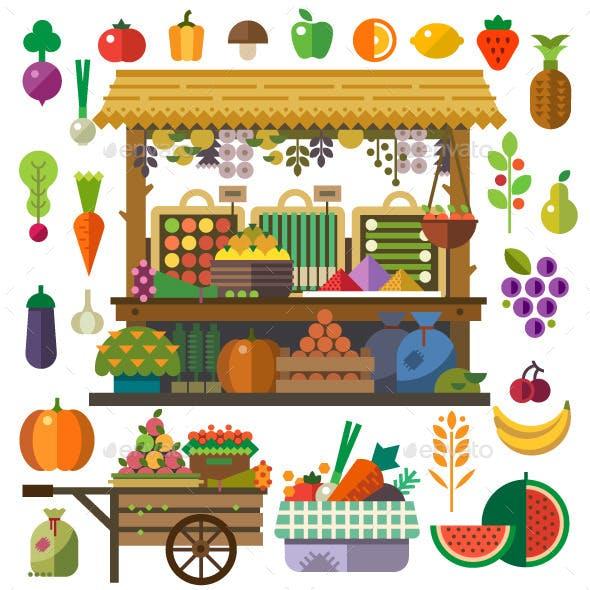 Food Market Flat Design