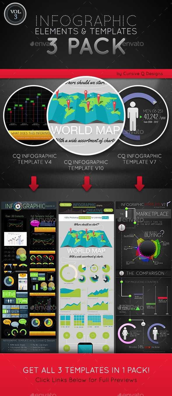 Infographic Elements and Templates 3 Pack Vol. 3 - Infographics