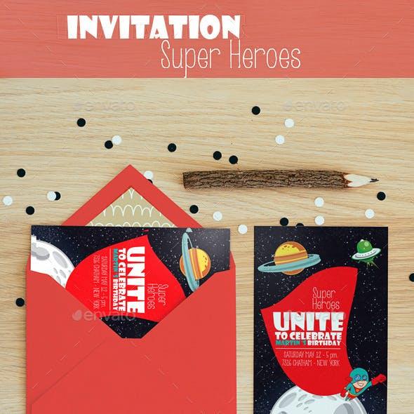 Invitation super heroe