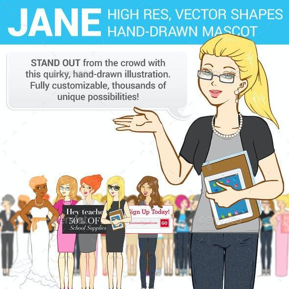 Hand-Drawn Business Woman Mascot