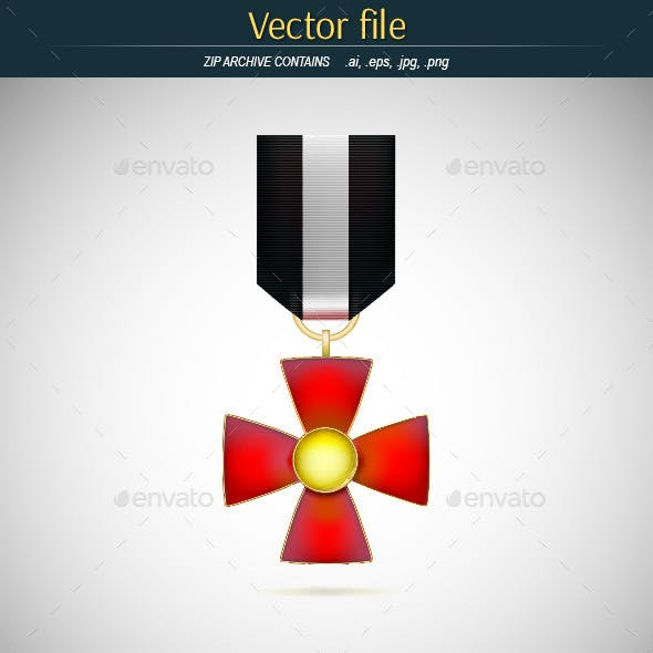 Red Medal with Gold Cross