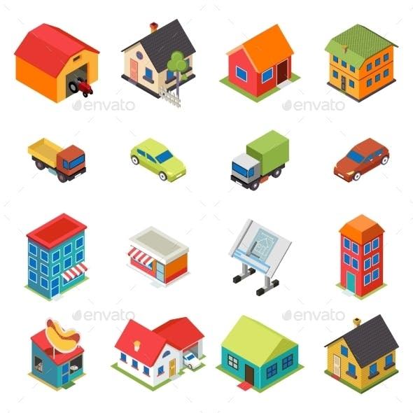 Isometric House Real Estate Car Icons