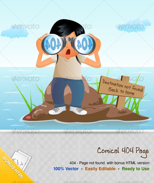 Comical 404 Error Page - With Bonus HTML - Web Elements