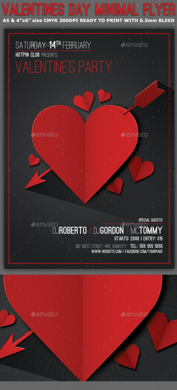 Valentines Day Minimal Flyer Template Clubs Parties Events