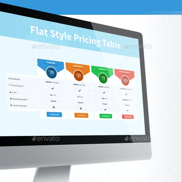 Flat Style Pricing Tables