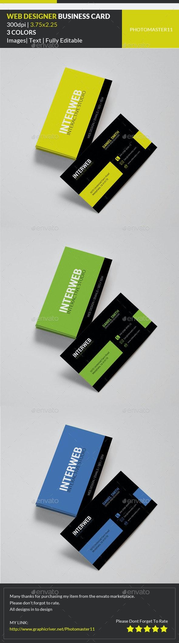 Web Designer Business Card - Corporate Business Cards