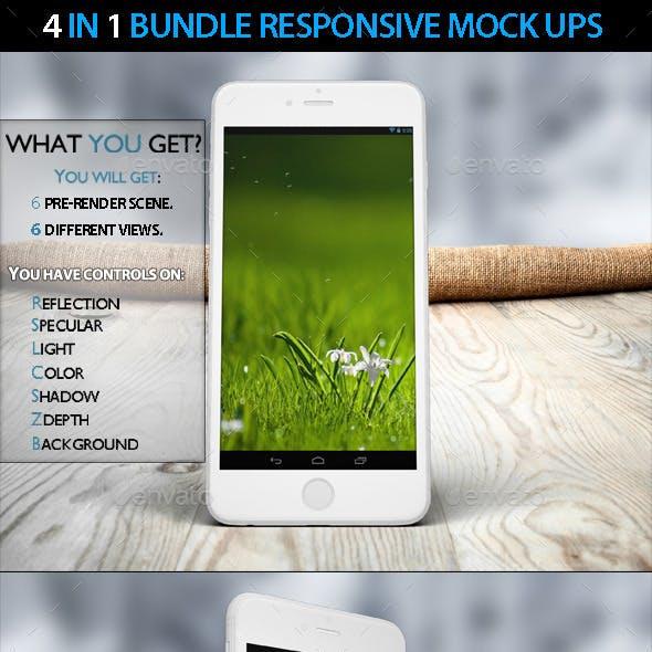 4in1 Bundle Responsive Website Devices Mock Ups