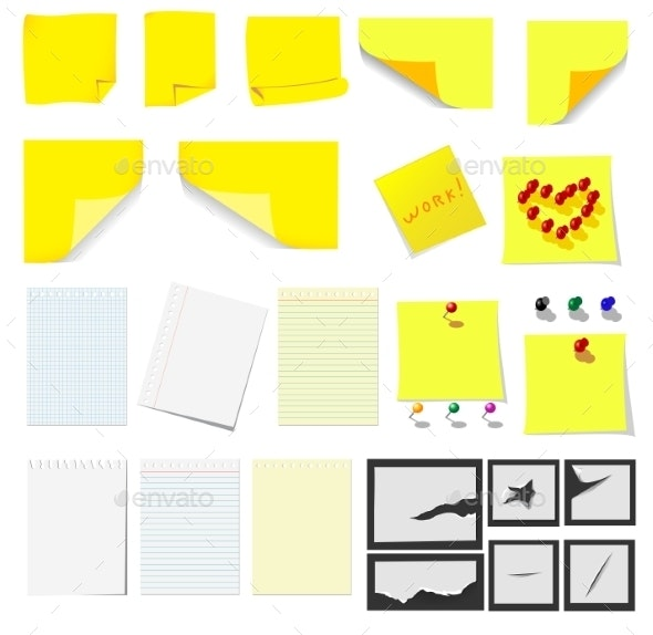 Office Sticky Notes and Paper - Miscellaneous Vectors