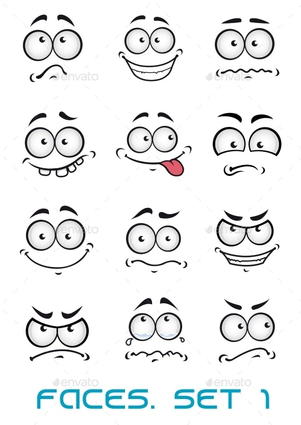 Cartoon Faces with Different Emotions - People Characters