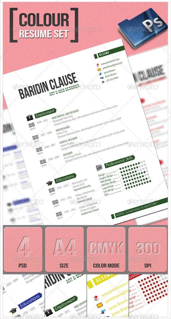 Colour Resume Set - Resumes Stationery