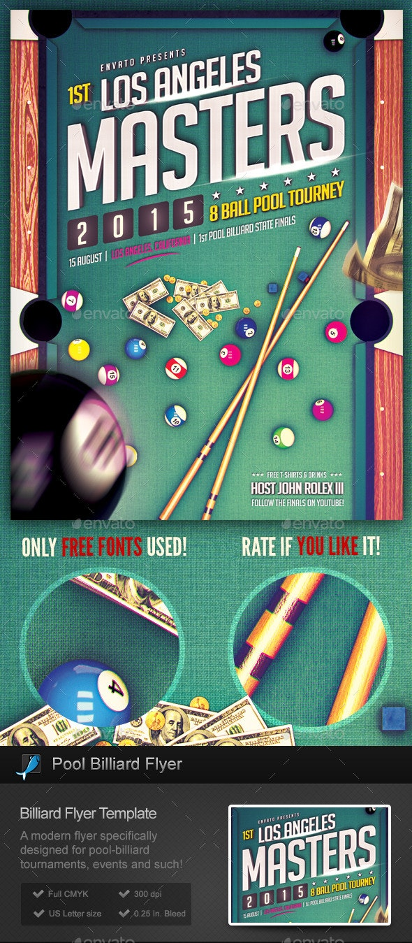 Pool Billiard Flyer Template - Sports Events