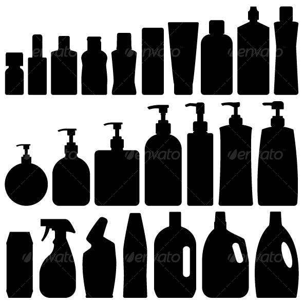 Bathroom Bottles Silhouette Set Vector