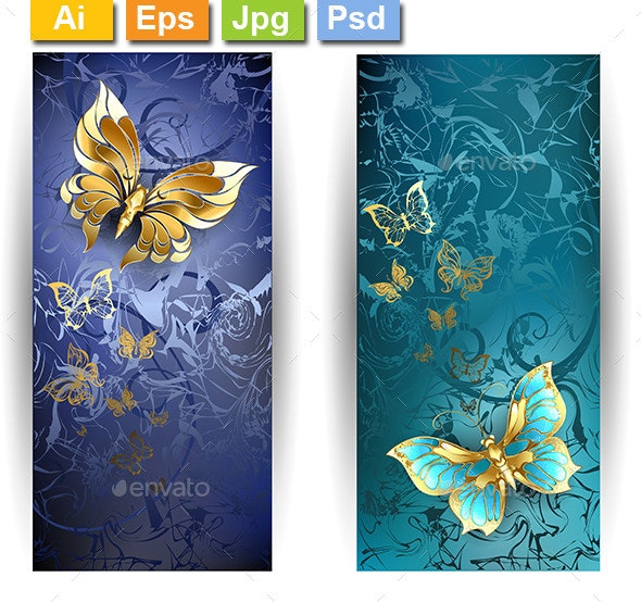 Two Banners with Gold Butterflies