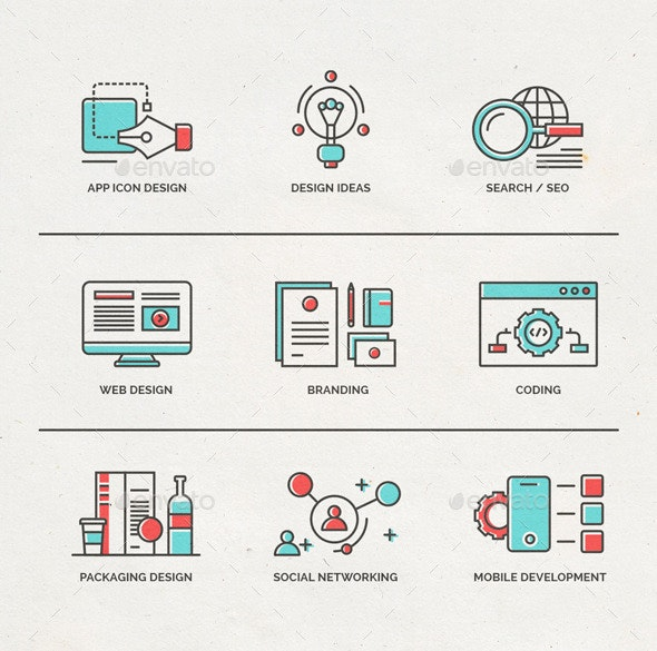 Fineline Icons for Webdesign and Mobile Marketing