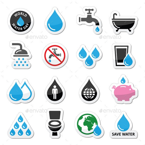 World Water Day Icons - Miscellaneous Vectors