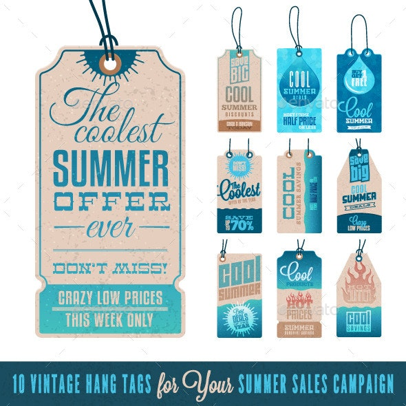 Summer Sales Related Vintage Hang Tags - Commercial / Shopping Conceptual