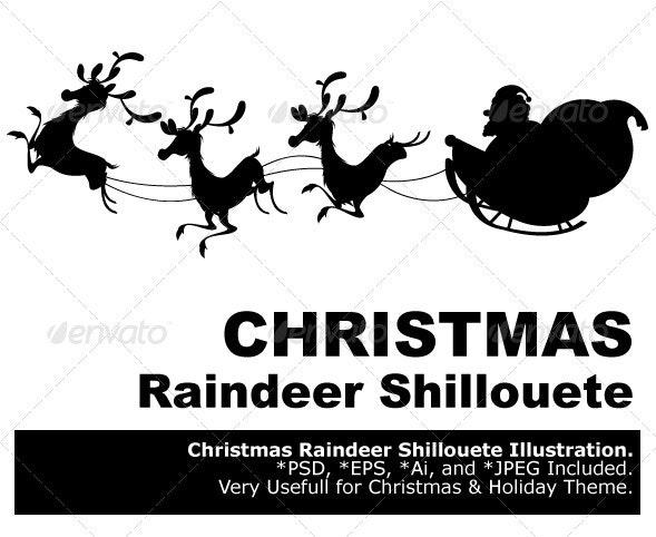 Reindeer Silhouette And Santa Claus Christmas - Christmas Seasons/Holidays