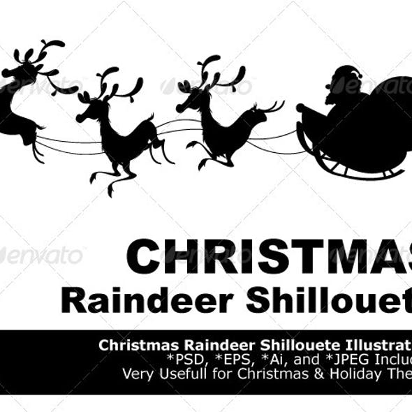 Reindeer Silhouette And Santa Claus Christmas