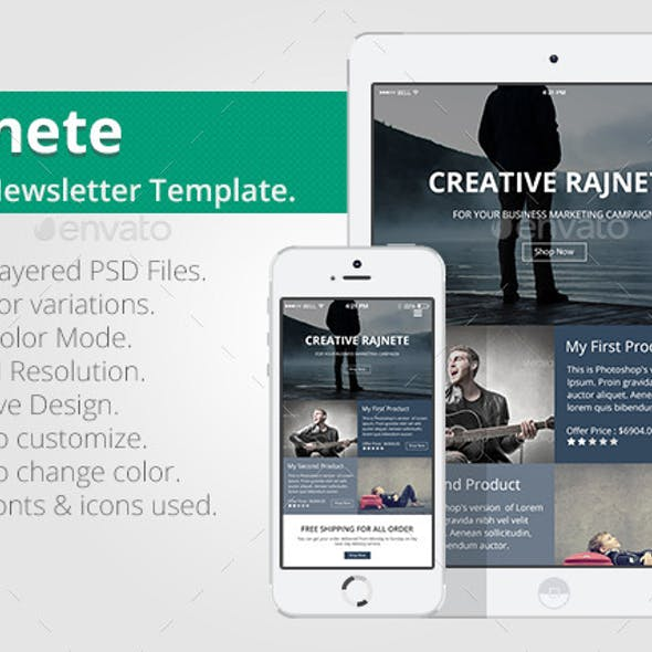 Rajnete Email Newsletter PSD Template