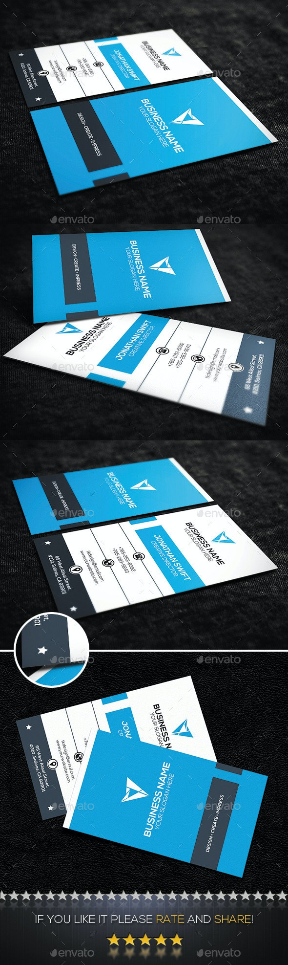 Blue Vertical Corporate Business Card  - Corporate Business Cards