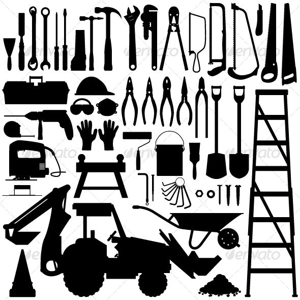 Construction Tool Silhouette Vector - Man-made Objects Objects