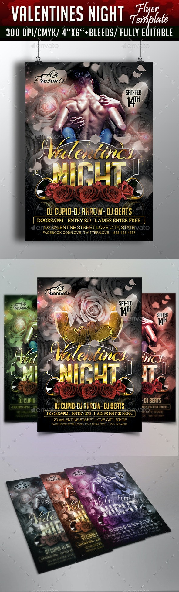 Valentines Night Flyer Template - Flyers Print Templates