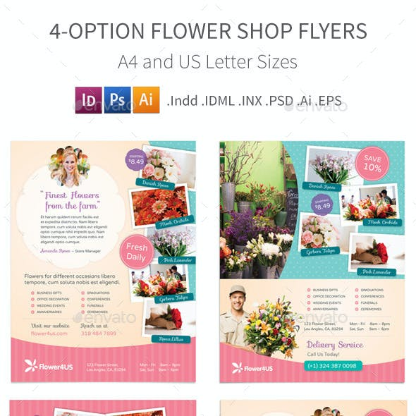 Flower Shop Flyers – 4 Options