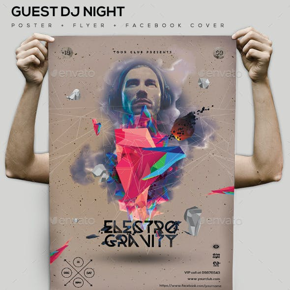 Electro Gravity Guest Dj Party Flyer/Poster