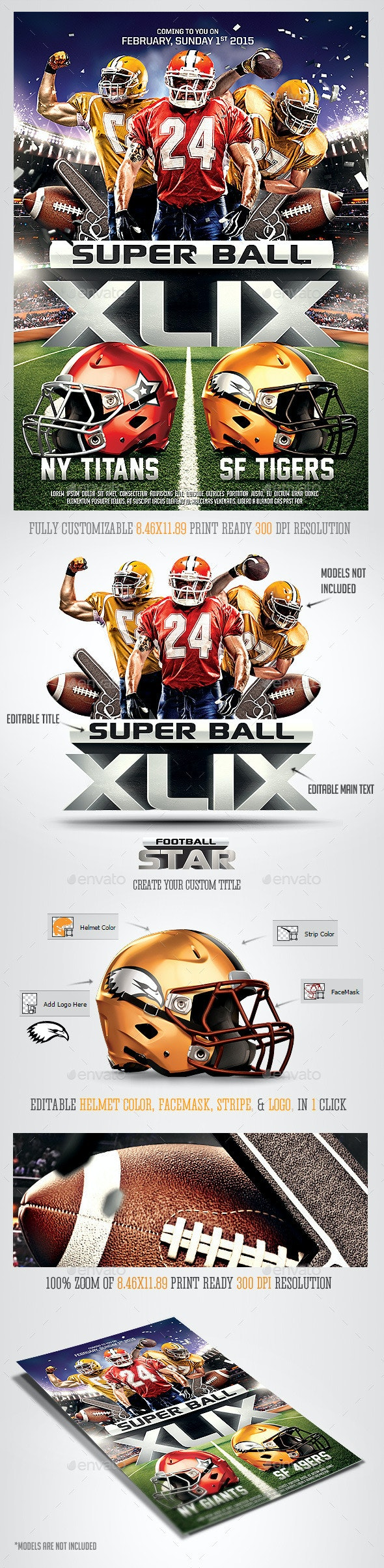 Super Ball Football Party Flyer Template - Sports Events