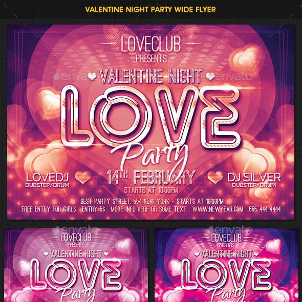 Valentine Love Party Wide Flyer