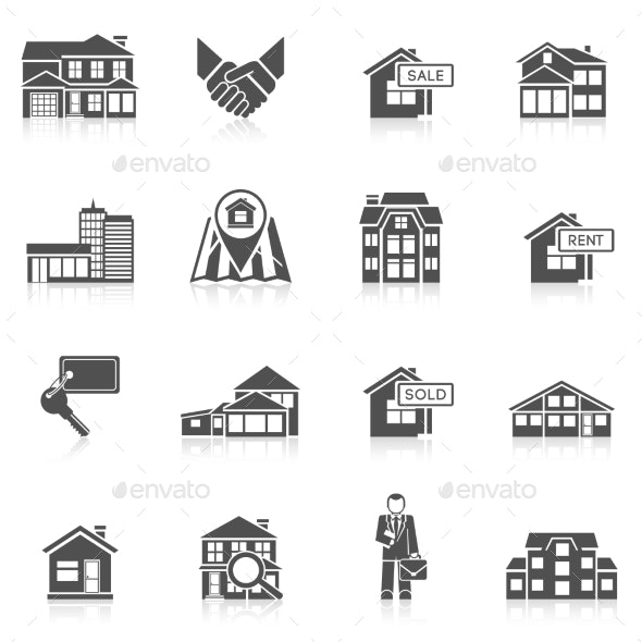 Real Estate Icon Set - Buildings Objects