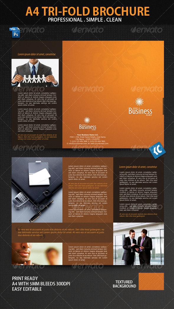 Clean and Professional A4-Tri-Fold Brochure - Corporate Brochures