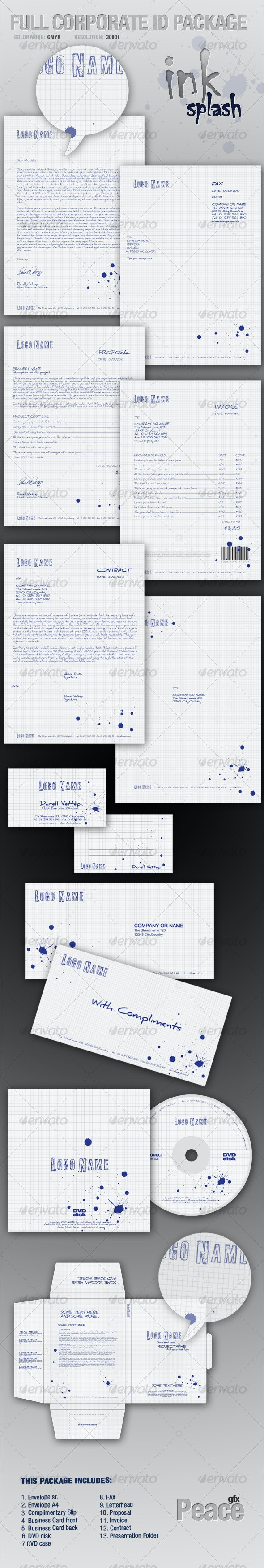 FULL CORPORATE ID PACKAGE - ink splash - Stationery Print Templates