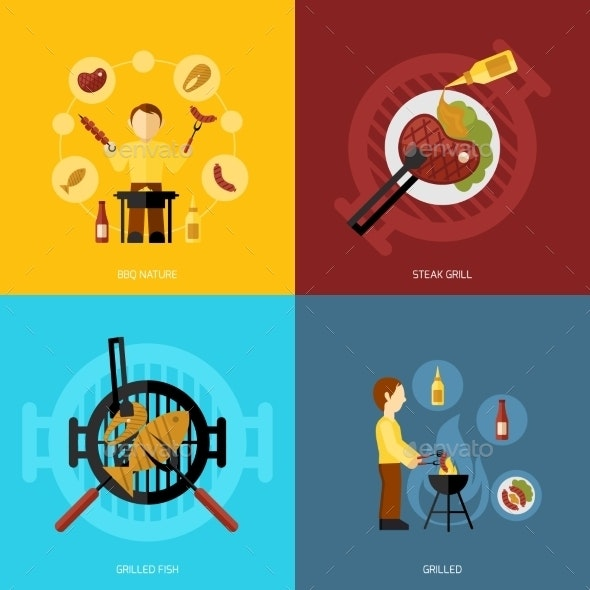 BBQ Grill Icons - Food Objects