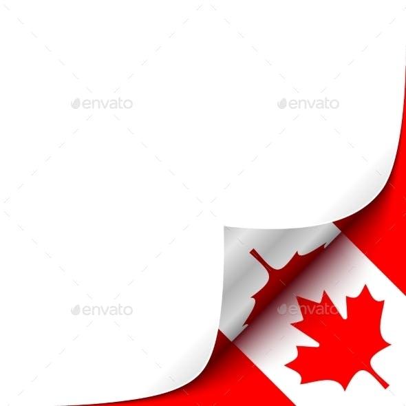 Curled Up Paper Corner on Canadian Flag