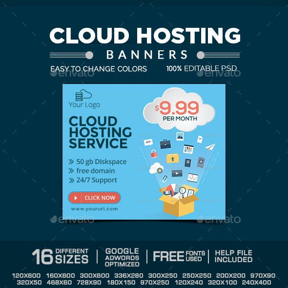 Cloud Hosting Service Banners