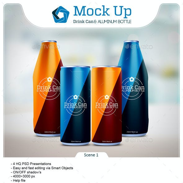 Drink Can & Aluminum Bottle Mockup