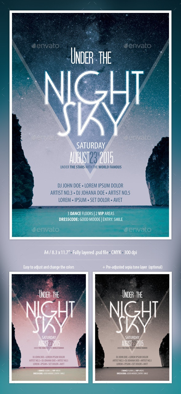 Night Sky Party Flyer - Events Flyers