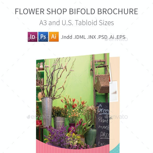 Flower Shop Bifold / Halffold Brochure