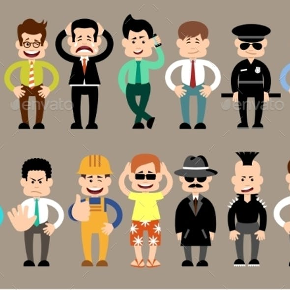 Set of Different Men Characters
